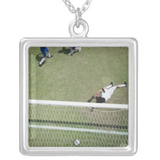 Soccer goalie missing soccer ball silver plated necklace