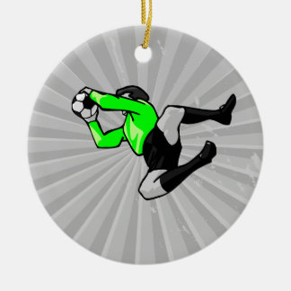 soccer goalie save graphic ceramic ornament