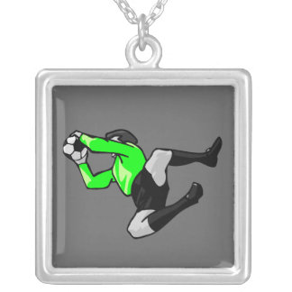 soccer goalie save graphic silver plated necklace