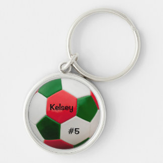 Soccer Green and Red Key Ring