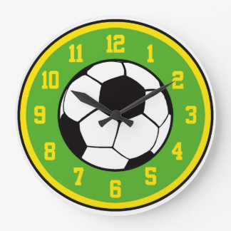 Soccer Green and Yellow Round Wall Clocks