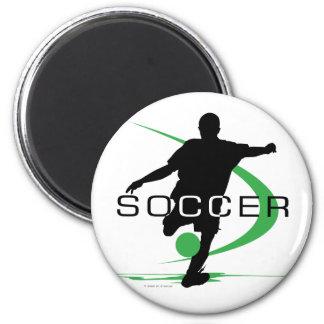 Soccer - Green - Boys 2 Inch Round Magnet
