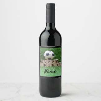 Soccer Happy Birthday with ball on green grass Wine Label