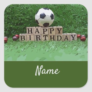 Soccer Happy Birthday with ball on green Party Square Sticker