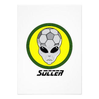 Soccer head Alien Personalized Invitations