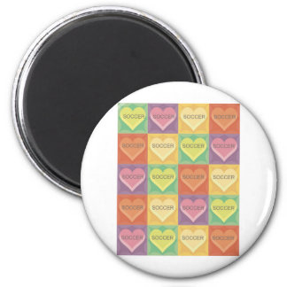 Soccer Hearts in Square 2 Inch Round Magnet