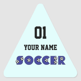 Soccer in Blue Triangle Sticker