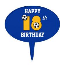 Soccer in Gold 18th Birthday Oval Cake Picks
