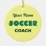 Soccer in Green Christmas Ornament