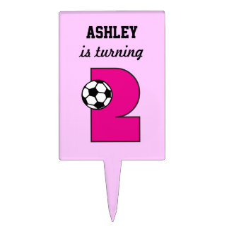 Soccer in Pink 2nd Birthday Party Cake Topper