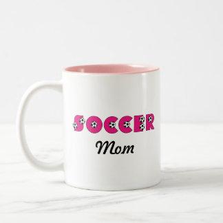 Soccer in Pink Two-Tone Coffee Mug