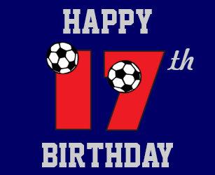 Soccer In Red 17th Birthday Cake Topper