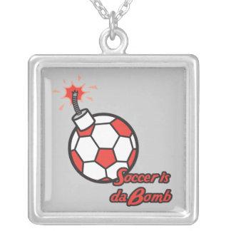 soccer is da bomb square pendant necklace