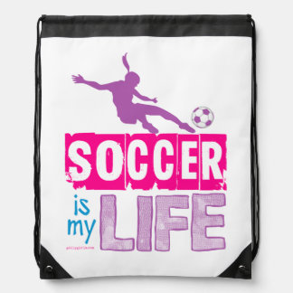 Soccer Is My Life Drawstring Backpack