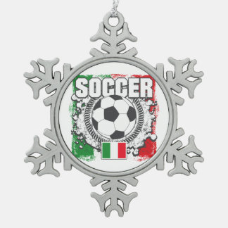 Soccer Italy Snowflake Pewter Christmas Ornament