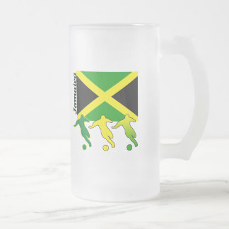 Soccer Jamaica Frosted Glass Beer Mug
