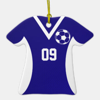 Soccer Jersey Customizable Blue Double-Sided T-Shirt Ceramic Christmas Ornament