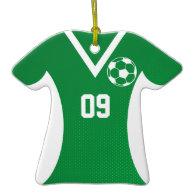 Soccer Jersey Customizable Green Christmas Tree Ornament