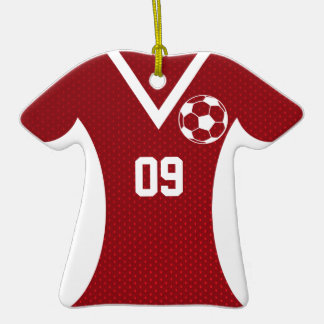Soccer Jersey Customizable Red Double-Sided T-Shirt Ceramic Christmas Ornament