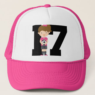 Soccer Jersey Number 17 (Girls) Gift Trucker Hat