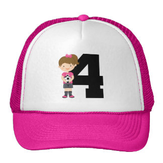 Soccer Jersey Number 4 (Girls) Gift Trucker Hat