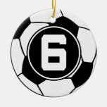 Soccer Jersey Number 6 Gift Idea Double-Sided Ceramic Round Christmas Ornament
