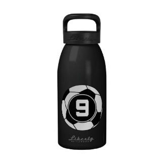 Soccer Jersey Number 9 Gift Idea Water Bottle
