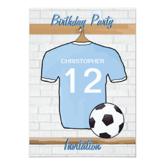 Soccer Jersey Sky Blue and White Birthday Party 5x7 Paper Invitation Card
