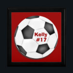 "Soccer Keepsake Box<br><div class=""desc"">Customize this soccer keepsake or gift box for coach or player.  Use background and text colors to create team colors.  Personalize with a name,  player number,  team name,  or school name.</div>"