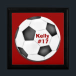 """Soccer Keepsake Box<br><div class=""""desc"""">Customize this soccer keepsake or gift box for coach or player.  Use background and text colors to create team colors.  Personalize with a name,  player number,  team name,  or school name.</div>"""