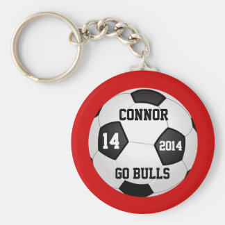 Soccer Keychains, Name, Team Name, Number and Year Basic Round Button Keychain
