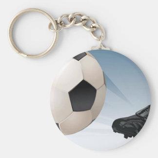 Soccer Kick Basic Round Button Keychain