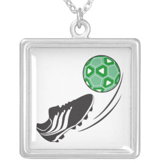 soccer kick kicking ball graphic silver plated necklace