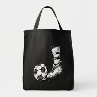 SOCCER KICKER BLACK AND WHITE TOTE BAG