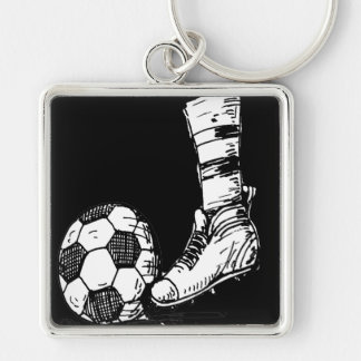 SOCCER KICKER BLACK AND WHITE Silver-Colored SQUARE KEYCHAIN