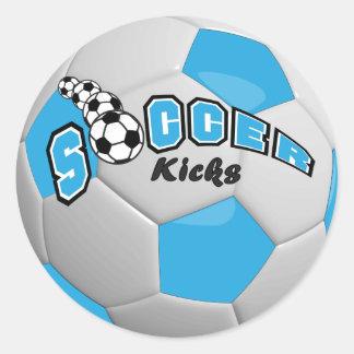 Soccer Kicks | Baby Blue Classic Round Sticker