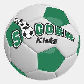 Soccer Kicks | Dark Green Classic Round Sticker