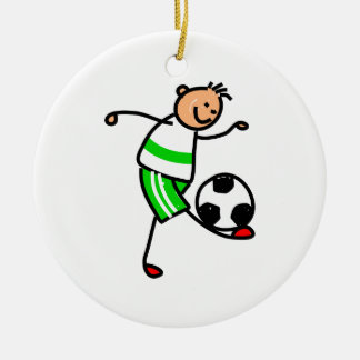 Soccer Kid Double-Sided Ceramic Round Christmas Ornament