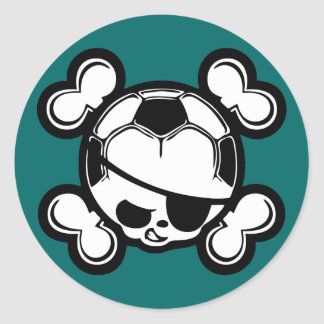 Soccer Kid Pirate Classic Round Sticker