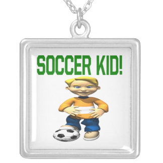 Soccer Kid Square Pendant Necklace
