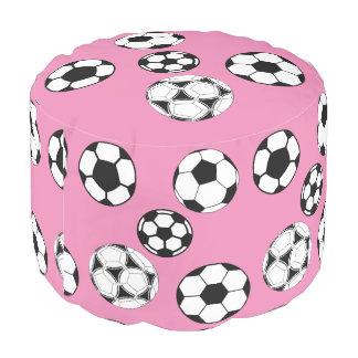 Soccer kids pink girls pouf