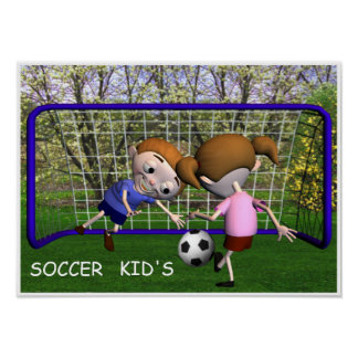 Soccer Kids Playing Poster