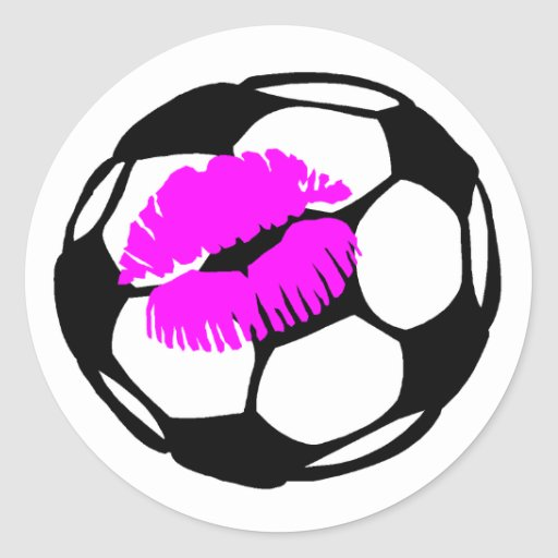 Soccer Kiss (Pink) Stickers
