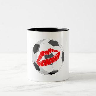 Soccer KIss (Red) Two-Tone Coffee Mug