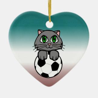Soccer Kitten Ceramic Ornament