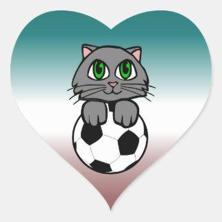 Soccer Kitten Heart Sticker