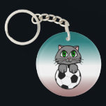 "Soccer Kitten Keychain<br><div class=""desc"">Here&#39;s a design for all you soccer players (or those of you who just plain love soccer) who also happen to be cat lovers! It doesn&#39;t get sweeter than this! Soccer Kitten! Thank You for checking out this design! You can see many more of my designs here on Zazzle at...</div>"