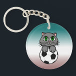 """Soccer Kitten Keychain<br><div class=""""desc"""">Here&#39;s a design for all you soccer players (or those of you who just plain love soccer) who also happen to be cat lovers! It doesn&#39;t get sweeter than this! Soccer Kitten! Thank You for checking out this design! You can see many more of my designs here on Zazzle at...</div>"""