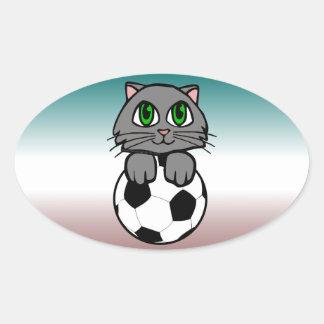 Soccer Kitten Oval Sticker