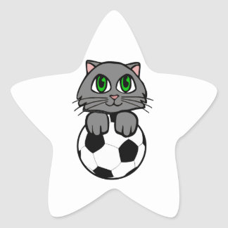 Soccer Kitten Star Sticker